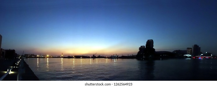 Beautiful panoramic view of Kaohsiung Port and Asia Bay just after sunset