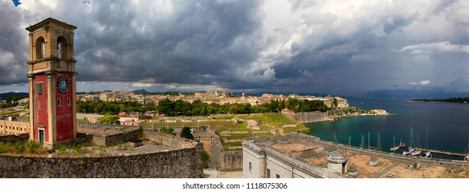 Beautiful panoramic view of Kerkyra from the observation point of the Old Fort. Corfu Island. Greece.