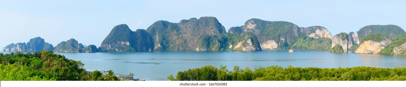 Beautiful panoramic view of Krabi montains and sea. View from the viewpoint at Leamsak Temple, AoLeuk, Krabi, Thailand