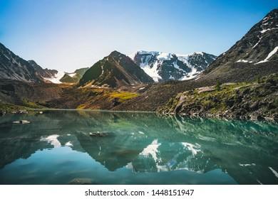 Beautiful panoramic view at Kucherla mountain lake and mountain range. Belukha national park, Altai republic, Siberia, Russia. Lake green and lake blue above lake Kucherla.