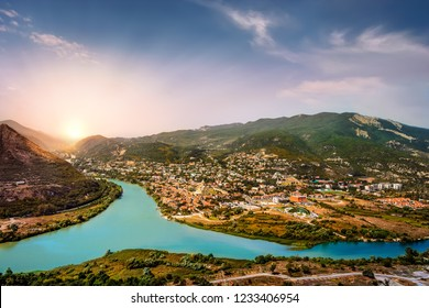 Beautiful panoramic view of the Kura river from the medieval Ananuri  fortress
