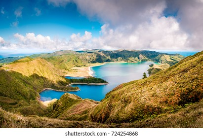 Beautiful panoramic view of Lagoa do Fogo lake in Sao Miguel Island, Azores, Portugal