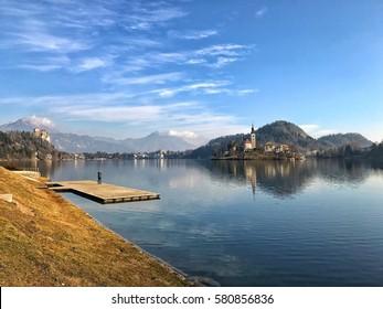 Beautiful Panoramic View of Lake Bled, Slovenia