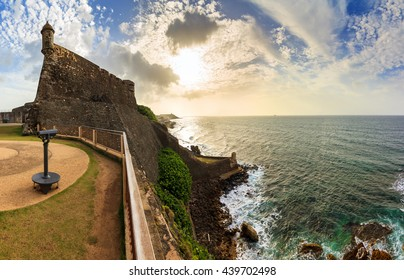 Beautiful panoramic view of the large outer wall with sentry box of fort San Cristobal in San Juan, Puerto Rico
