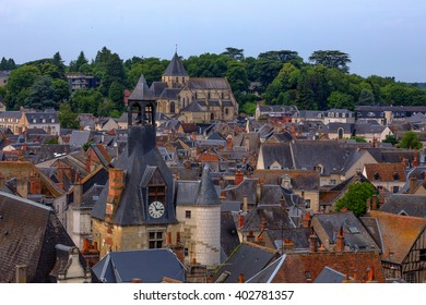 Beautiful panoramic view of medieval European town Amboise, France