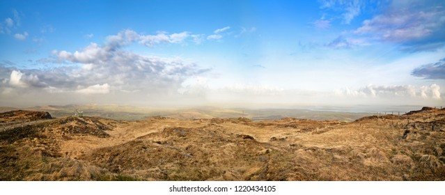 Beautiful panoramic view from the Mount Gabriel in spring. West Cork, Ireland.