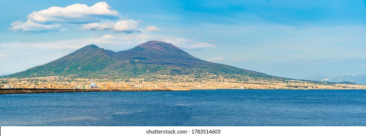 Beautiful panoramic view of Mount Vesuvius as seen from the shores of the golf of Naples, Italy