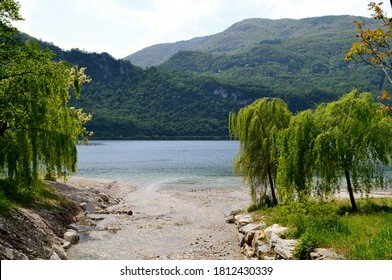 Beautiful panoramic view to mountain river delta landscape with willow trees at the lake Como.