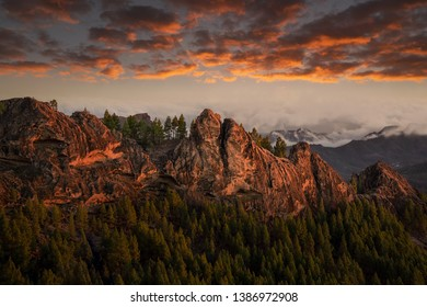 beautiful panoramic view of mountains of gran canaria during sunset, canary island, spain