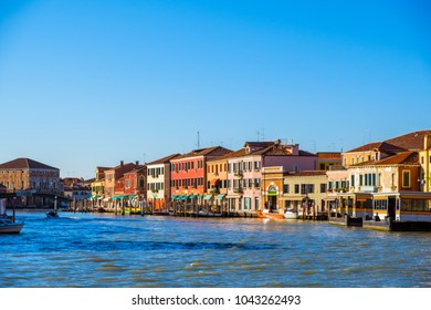 Beautiful panoramic view of Murano, view from the seaside. Italy