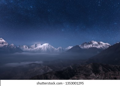 Beautiful panoramic view of the night sky over the Annapurna mountain range in the Upper Mustang, Nepal.