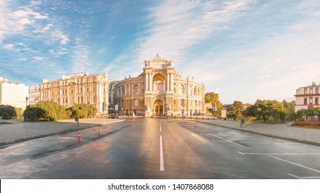 Beautiful panoramic view of the Odessa State Academic Opera and Ballet Theater early in the morning without people. Building for art, landmark, building in the style of the new Viennese baroque