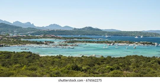 Beautiful panoramic view on Golfo di Marinella, Golfo Aranci, Sardinia, Italy