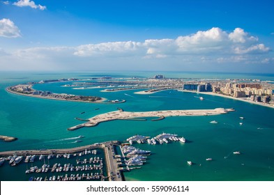 Beautiful panoramic view on the Palm Jumeirah from the 66th floor, Dubai, United Arab Emirates