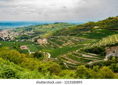 Beautiful panoramic view on Valpolicella from San Giorgioin in the province of Verona. August 13th 2018 San Giorgio, Verona - Italy