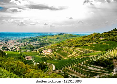 Beautiful panoramic view on Valpolicella from San Giorgio in in the province of Verona. August 13th 2018 San Giorgio, Verona - Italy