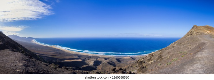 Beautiful panoramic view onto lovely Cofete beach at Fuerteventura, Spain.