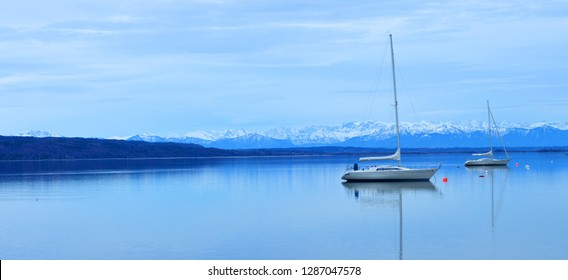 beautiful panoramic view over the alp mountains and the Ammersee, Germany