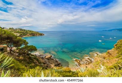 Beautiful panoramic view over Innamorata beach of Elba island in Italy.