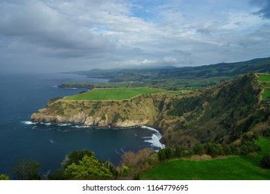 Beautiful panoramic view over Sao Miguel Island and Atlantic ocean