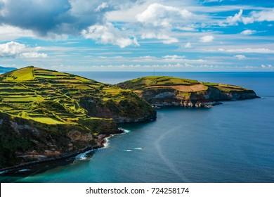 Beautiful panoramic view over Sao Miguel Island and Atlantic ocean from Miradouro De Santa Iria in Sao Miguel Island, Azores, Portugal