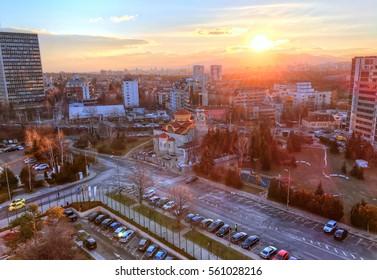 Beautiful panoramic view over Sofia cityscape at sunrise, in  Bulgaria