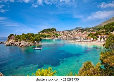 Beautiful panoramic view of Parga city, Greece.