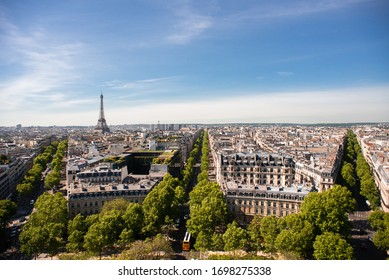 Beautiful Panoramic View of Paris with Eiffel Tower from the Roof of Triumphal Arch.