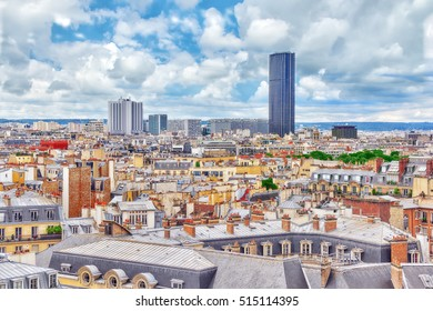 Beautiful panoramic view of Paris from the roof of the Pantheon. View of the Montparnasse tower.