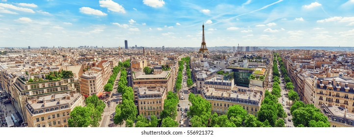 Beautiful panoramic view of Paris from the roof of the Triumphal Arch. Champs Elysees and the Eiffel Tower. France.