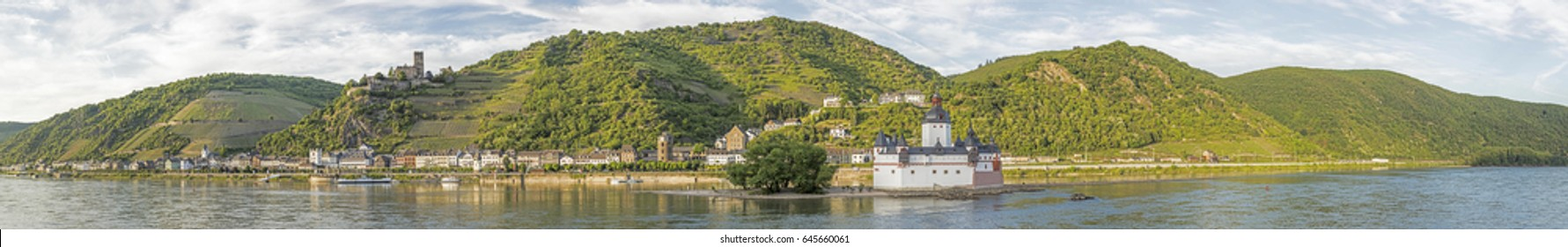 beautiful panoramic view to the Rhine valley, a unesco world heritage site