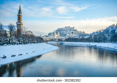 Beautiful panoramic view of Salzburg skyline with Festung Hohensalzburg and river Salzach in winter, Salzburger Land, Austria