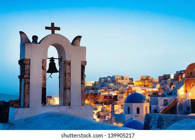 beautiful panoramic view of Santorini, Greece, traditional church on foreground