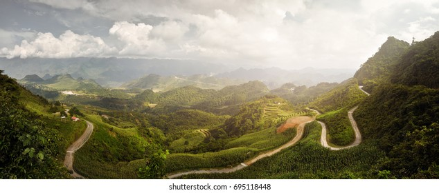 Beautiful panoramic view of the sunny valley in Ha Giang Province, North Vietnam.