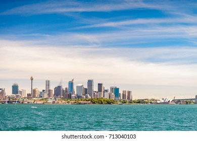 Beautiful panoramic view of Sydney city skyline from harbor