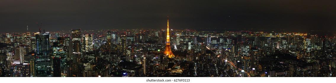 Beautiful Panoramic view of Tokyo Tower and Tokyo skyline