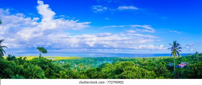 Beautiful panoramic view of the town of San Andres Island Colombia and Caribbean Sea South America