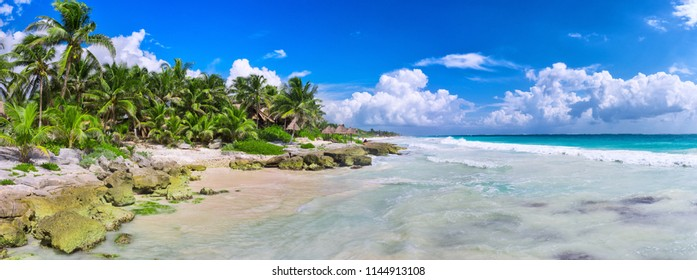 Beautiful panoramic view of tropical beach on caribbean sea