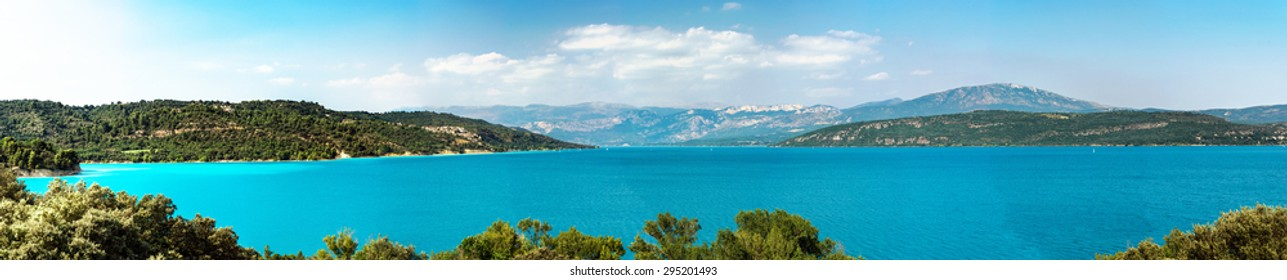 Beautiful panoramic view to the Verdon lake, Provence, France. Touristic concept