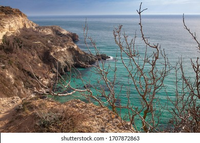 Beautiful panoramic views of the sea and the cliff, a mountain in the Black Sea, landscape, coastal travel and nature