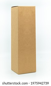 Beautiful paper box for bottle packaging, tall shape natural brown box, standing on white background, 45 degrees angle view, blank space for a branding design label. The concept for natural products