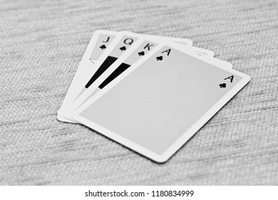 Beautiful paper made lead playing cards isolated unique photo