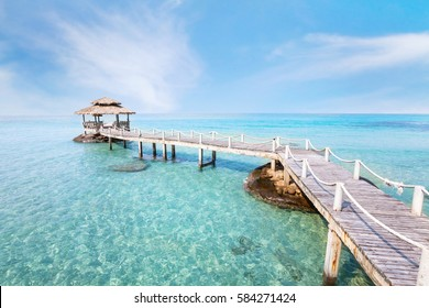 beautiful paradise beach landscape background, tropical island with turquoise water