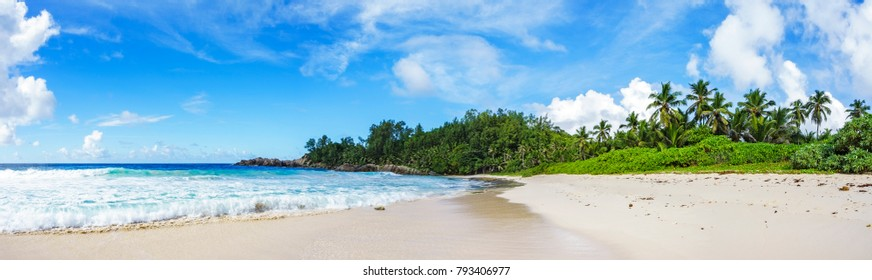 beautiful paradise beach with palms, white sand, turquoise water and granite rocks at the police bay on mahe, seychelles. Great resort