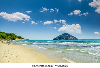 Beautiful Paradise beach, Thassos island, Greece. Probably the most beautiful Greek beaches.