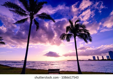 Beautiful Paradise sunset at Ala moana beach park in Hawaii