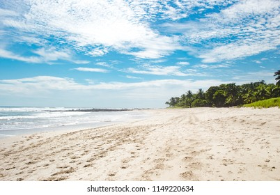 Beautiful paradise white sand beach of Playa Carmen, near Santa Teresa on the Nicoya peninsula of Costa Rica