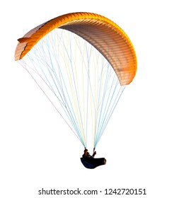 Beautiful paraglider in flight on a white background. isolated