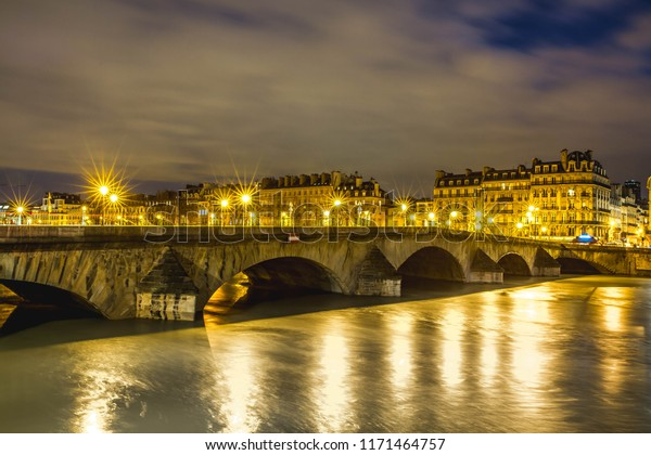 Beautiful Paris By Night Illuminated Seine Stock Photo Edit Now 1171464757
