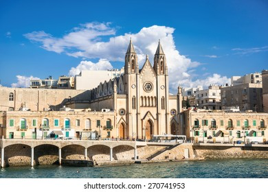 Beautiful parish church of St. Julians in Balluta bay, Malta